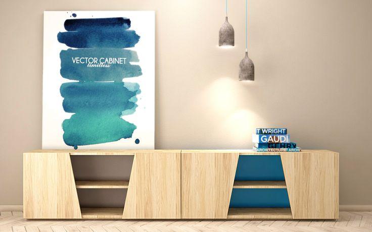 Komoda z serii VECTOR z możliwością wykonania pleców w rożnych kolorach.