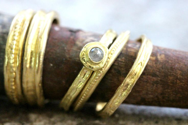 Stacking ring, Rough diamond ring, Diamond Wedding Band, Solid Gold Wedding Band, Engagement ring, wedding ring set, Gold band, promise ring http://etsy.me/2DTGkaL #stackedrings #ringset #goldring #diamondring