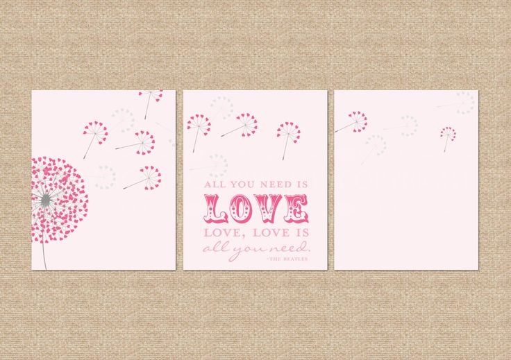 All you need is love... Beatles Quote Nursery / Kids Room Giclée Art Prints, 3 Print Set, Custom match colors to a room // N-G30-3PS AA1 by PaperRamma on Etsy https://www.etsy.com/listing/129104725/all-you-need-is-love-beatles-quote