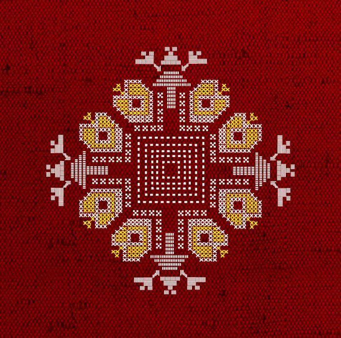 kleidung ethno mode ethno muster Stickerei valentino mode  tracht muster rot vorlage
