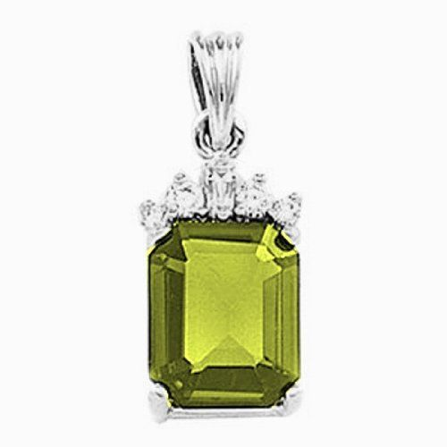 Platinum Emerald Cut Peridot and Diamond Pendant Gems-is-Me. $1232.16. This item will be gift wrapped in a beautiful gift bag. In addition, a 'gift message' can be added.. FREE PRIORITY SHIPPING