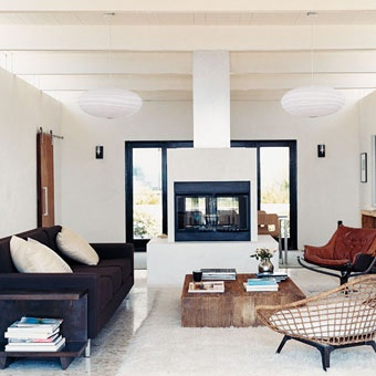 From domino magazine: Coffee Tables, Living Rooms, Black White, Coff Tables, Wood Tables, Natural Wood, Rooms Dividers, Fireplace, Leather Chairs