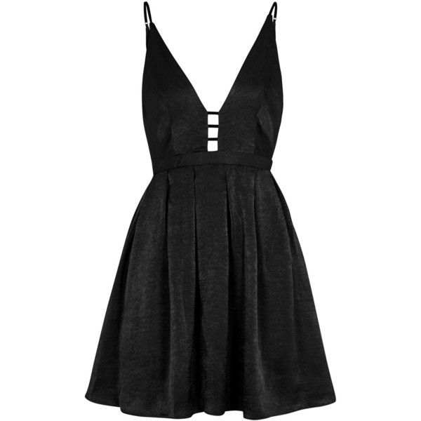 Free People Gabby's Party All Night Satin Dress - Size 6 ($120) ❤ liked on Polyvore featuring dresses, satin party dress, plunge dress, plunge back dress, cutout dresses and party dresses