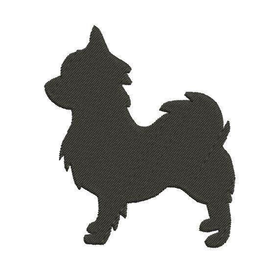 Chihuahua pelo lungo Silhouette disegno ricamo di Cloud9Embroidery