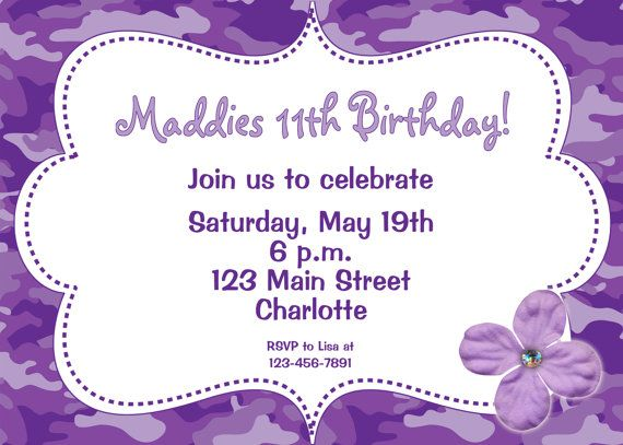 Purple Camo Girls Birthday Party Invitation -- funky purple camoflauge - flowers - ETSY