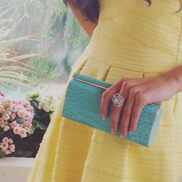 Pastel delight . #Marni #jewelclutch chic and elegant in #croc #turquiseblue  #VanaShree #ExoticElegance