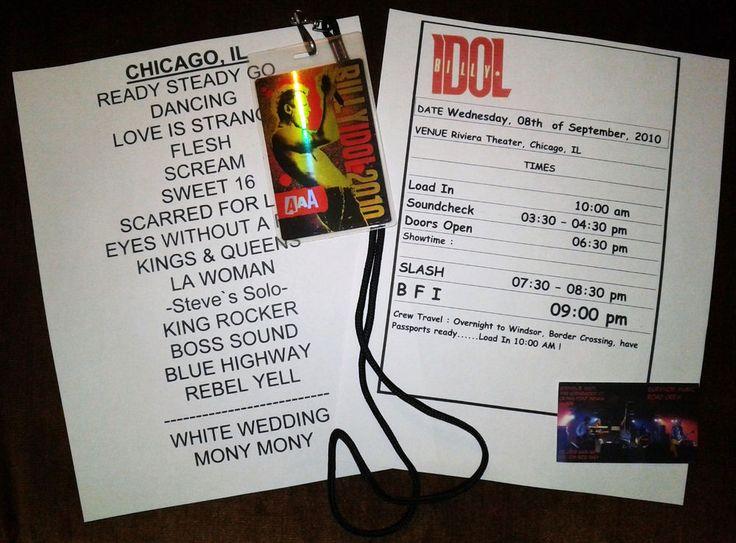 Billy Idol,Slash,Setlist & Iten. from Riviera Theatre Chicago Sept 2010  last 2!