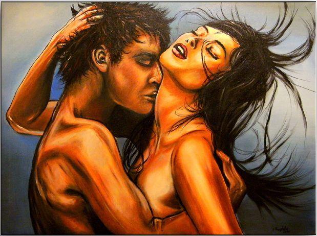 BURGSTALLER Erotische Gemälde Leinwand Bilder Kunst Liebespaar Erotik Akt EXTASE