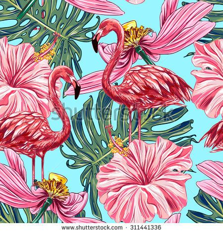 Pink flamingos, tropical flowers and jungle leaves, hibiscus, pink lotus. Beautiful seamless vector floral jungle pattern background, wallpaper