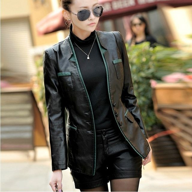 2015 spring fashion new leather women plus size long section Slim genuine leather jacket leather BL0037 US $104.35 /piece To Buy Or See Another Product Click On This Link  http://goo.gl/IdJFhm