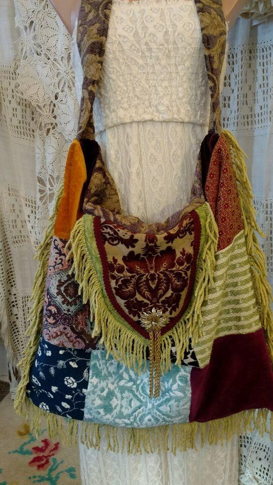 Handmade Tote Carpet Bag Patchwork Gypsy Purse Hippie Hobo Boho Fringe tmyers #Handmade #TotesShoppers
