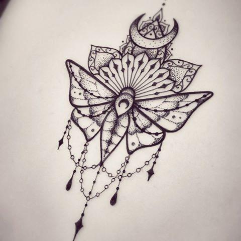 9b8e08d68 ... with lace and mandala decorations tattoo design - Tattooimages.biz | Art  | Tattoos, Moth tattoo, Lace tattoo