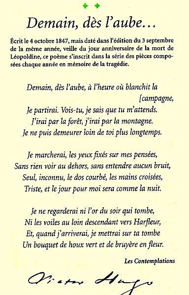 Demain,dès l'aube... /recueil les contempations/V.Hugo. (1856) (pauca meae)
