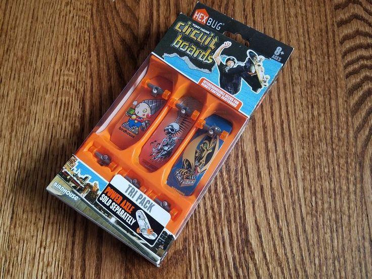 HEXBUG Tony Hawk Circuit Boards Tri-Pack Fingerboard Skateboard Decks Power Axle #Hexbug