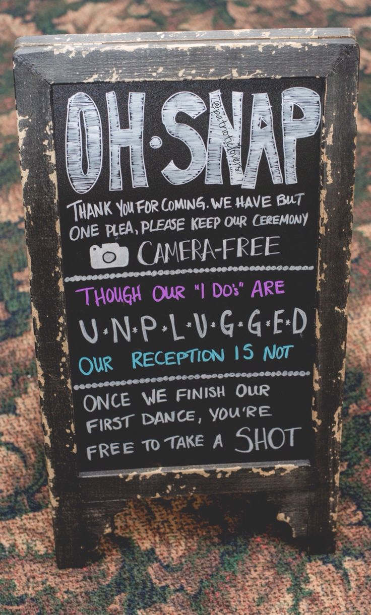 Unplugged Wedding Chalkboard Sign