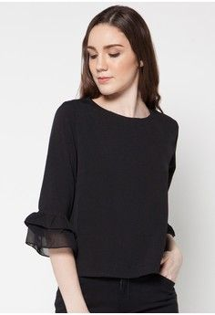 Renata 3/4 Sleeve Blouse from Raspberry in black_1