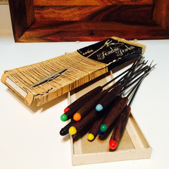 Wood Fondue Forks Colored Tip Forks Wood Fondue by ACertainFeel