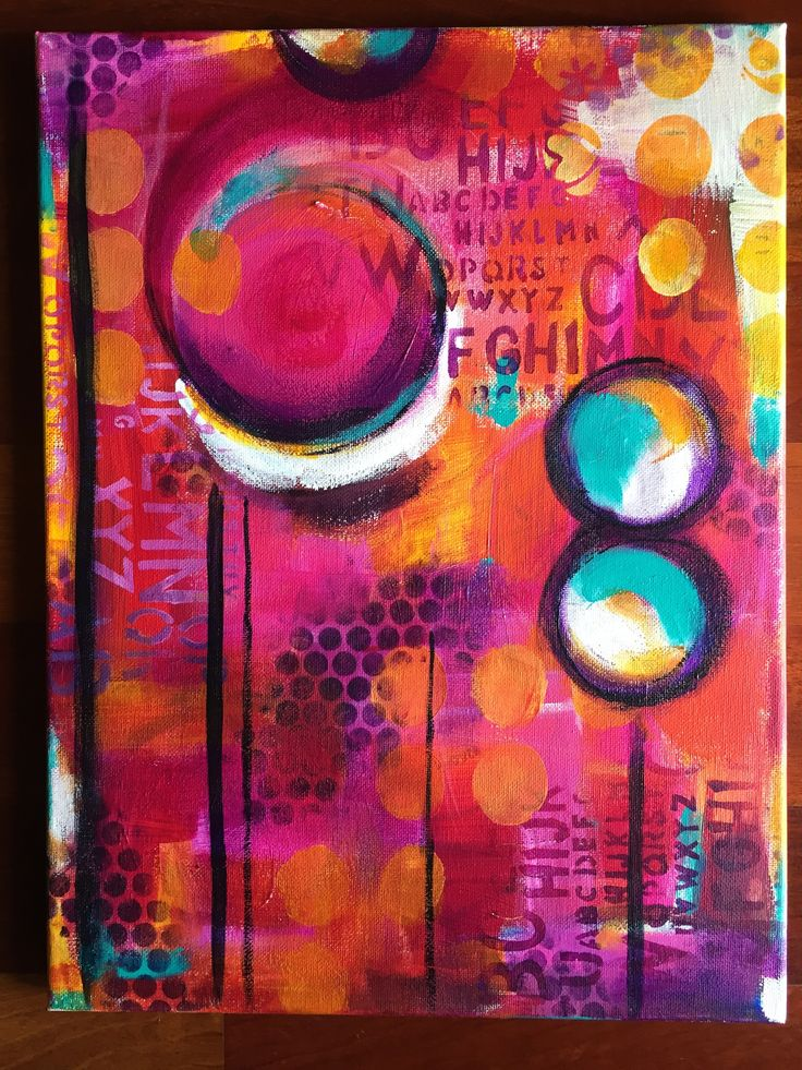 Love this color palette. Acrylics, stencils, china marker.