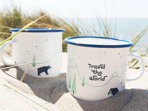 Geschenkidee für Reiselustige und Abenteurer: Becher aus Emaille mit Illustration / travel the world with the illustrated cup made by Junographics via DaWanda.com