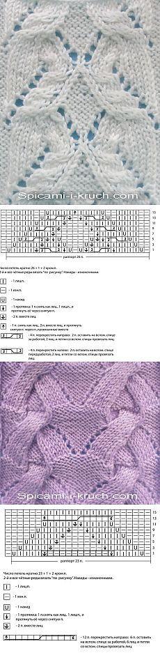 Схемы узоров спицами