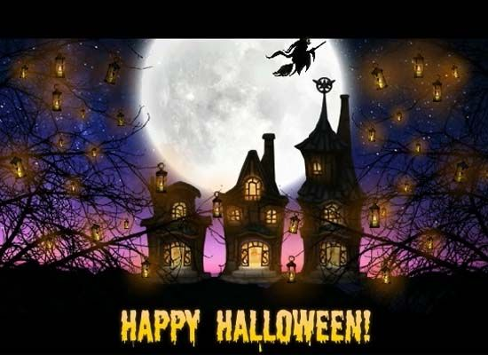 A Scary Halloween E Card With A Haunted House In A Forest With Huge Ghostly  White Moon, Bats, Witch And Cat. Free Online Haunted House Ghost Frightful  Night ...