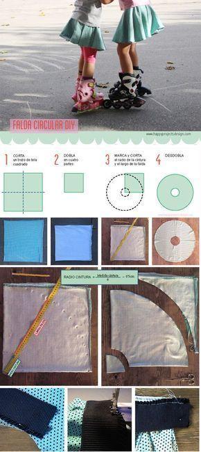 Cómo coser un a falda circular #falda #coser #diy #patron circle skirt pattern