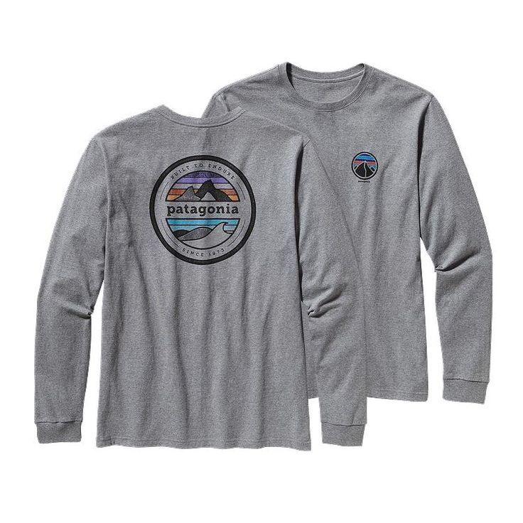 Patagonia Men\'s Long-Sleeved Rivet Logo Cotton T-Shirt - Gravel