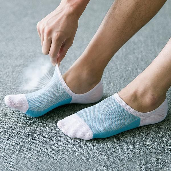 5 Pairs Womens Silicone Heel Anti-slip Lace Boat Socks Invisible Socks Anti Slip