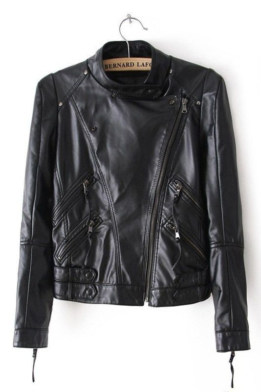 Black All Zipped Up Faux Leather Jacket