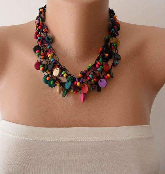 Christmas Gift  Colorful Necklace with Wooden Beads by SwedishShop