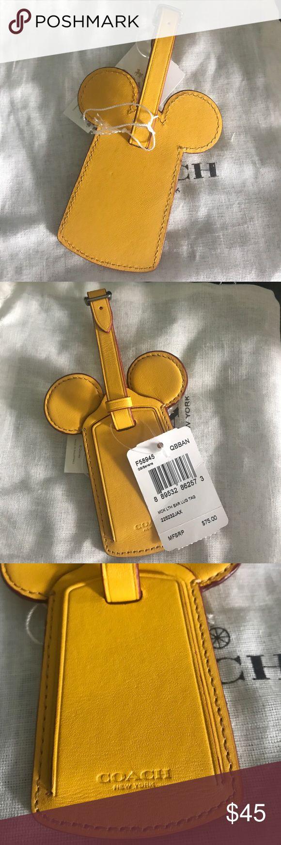 Disney X Coach Luggage Tag Yellow F58945 Super cute Disney x Coach Luggage Tag. Coach Accessories