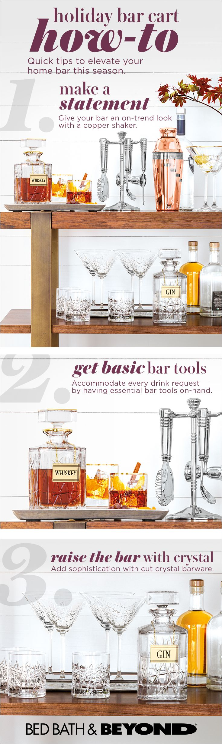 A bar cart is a must for holiday entertaining. It keeps party essentials organized and spirits bright all night by making it easy for friends to help themselves. Cheers!
