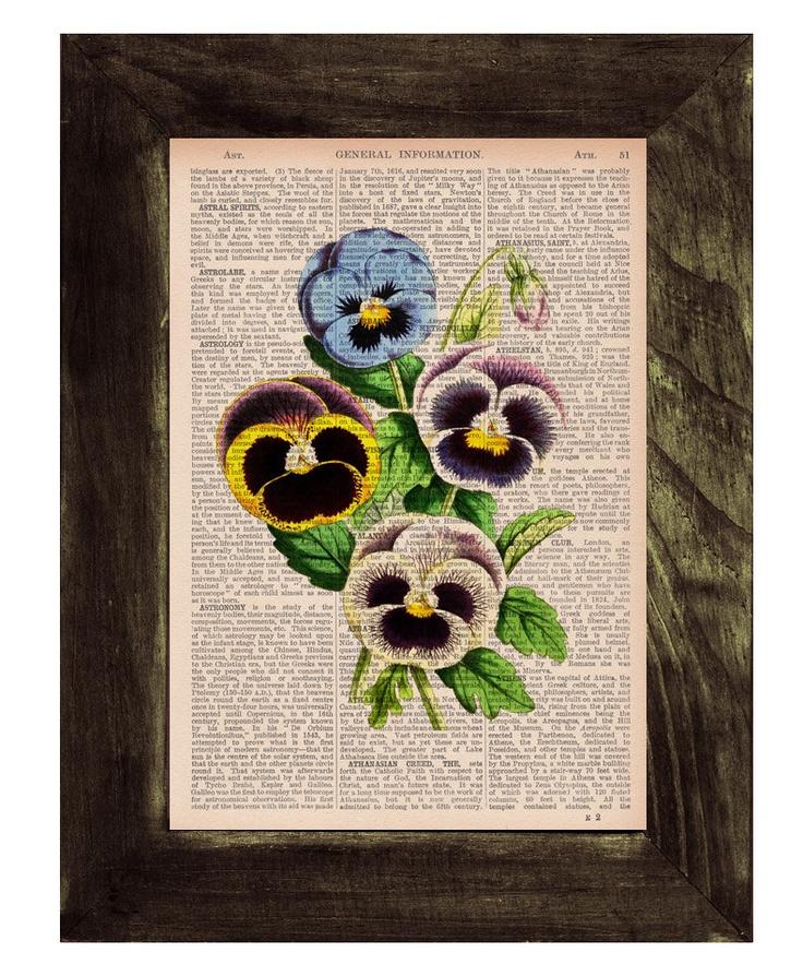 Blue pansies flowers printed on  Dictionary or Encyclopedia Page -SALE buy 3 get 4. $7.99, via Etsy.