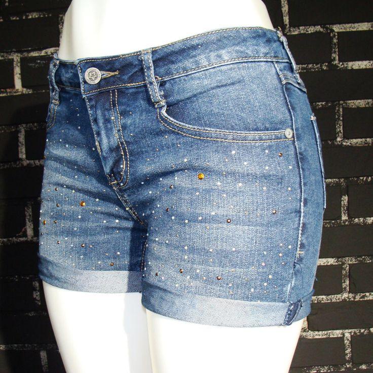 "Womens 30"" M Stretch Vanilla Star Mid Rise Zip Fly Studded Cut Off Jeans Shorts #VanillaStar #Cutoff"