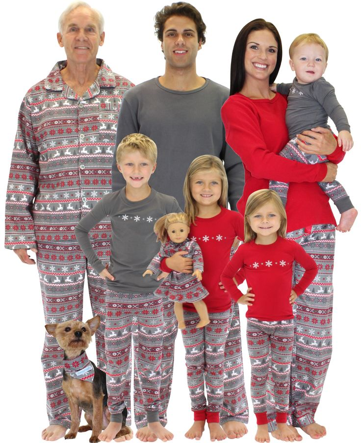 Grey and Red Nordic Family Matching Christmas Pajamas by SleepytimePjs