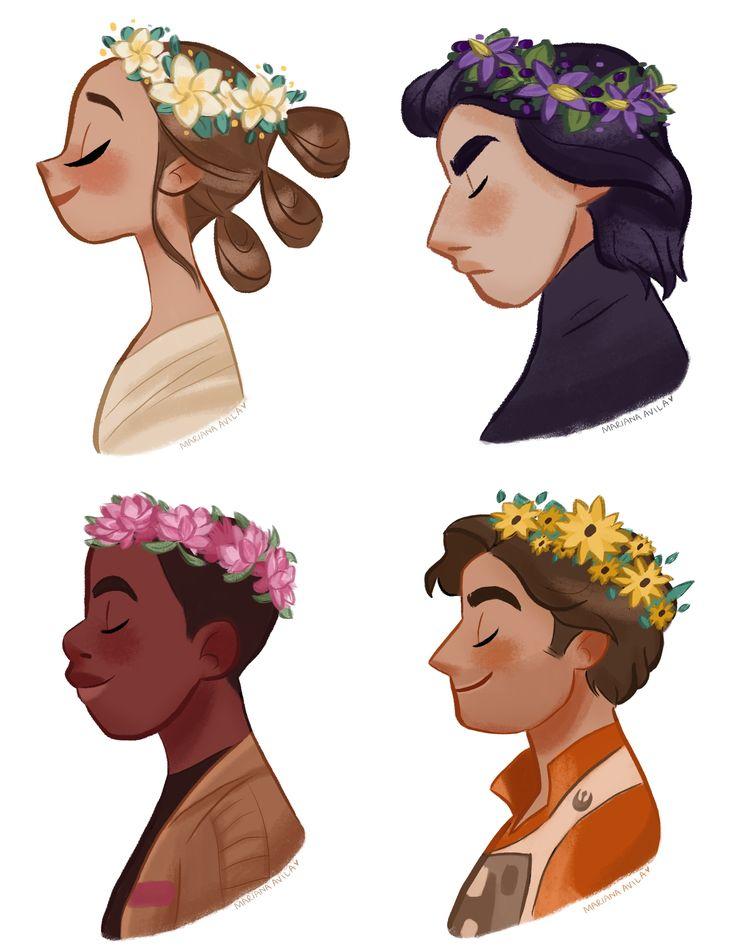 Star Wars Episode VII / Flower : Rey - Frangipani / Kylo Ren - Belladonna / Finn - Lotus / Poe - Black-eyed Susan