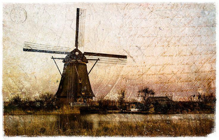 Kinderdijk Windmill, The Netherlands - Forgotten Postcard