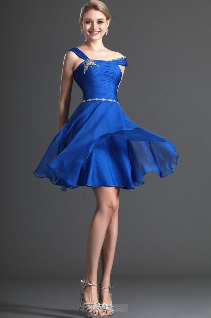 Sexy A-line Straps Short / Mini Chiffon Beading Royal Blue Cocktail Dresses
