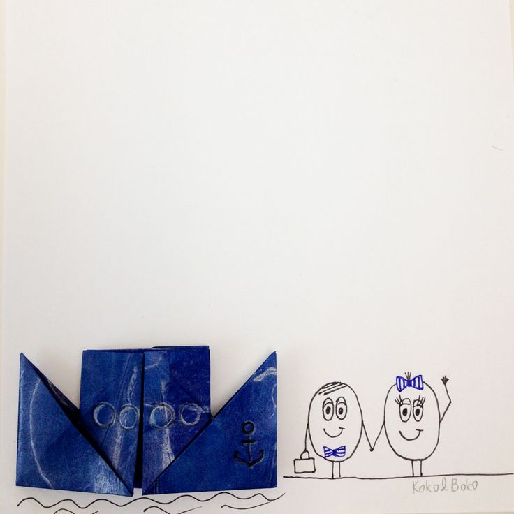Koko and Boko are going to cruise :).  http://instagram.com/kokoandboko #kokoboko #story #love #boat #origami #navy #sea #smile #happy #cruise #boy #girl #illustration