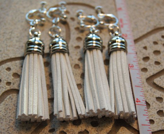 White Boho  Silver Domed Clipon Earrings by InspiredDesigns4YOU, $30.00