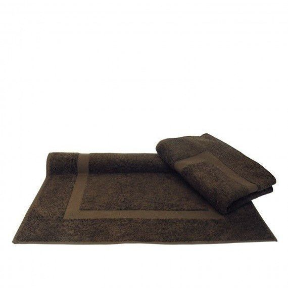 Cocoa Brown Bath Mat with Dobby Border, Set of 2