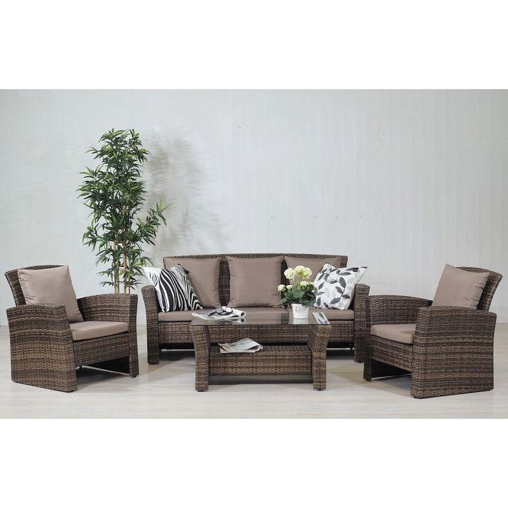 Sicilien 3 sits soffa, 2 fåtöljer och soffbord i brun konstrotting