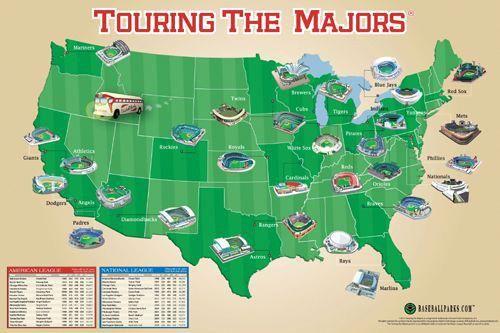 Touring the Majors (MLB Ballpark Map of America) Poster   Grand