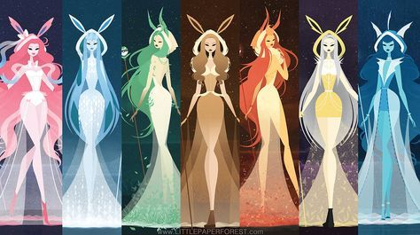 Eeveelutions as Goddesses by littlepaperforest… on @DeviantArt