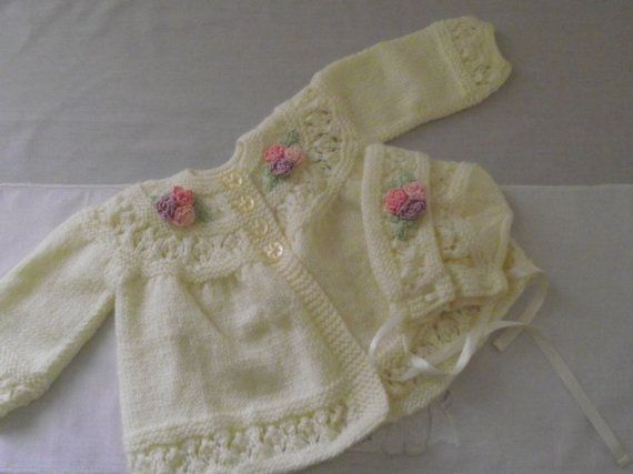 hand knitted cardigan / jacket and hat for baby / by bythemill