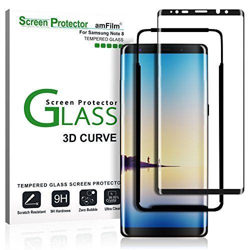 nice Galaxy Note 8Protector de pantalla de cristal (pantalla completa cobertura) (fácil instalación bandeja), amFilm Dot Matrix 3d curvado Samsung Galaxy Note 8Protector de pantalla de vidrio templado 2017