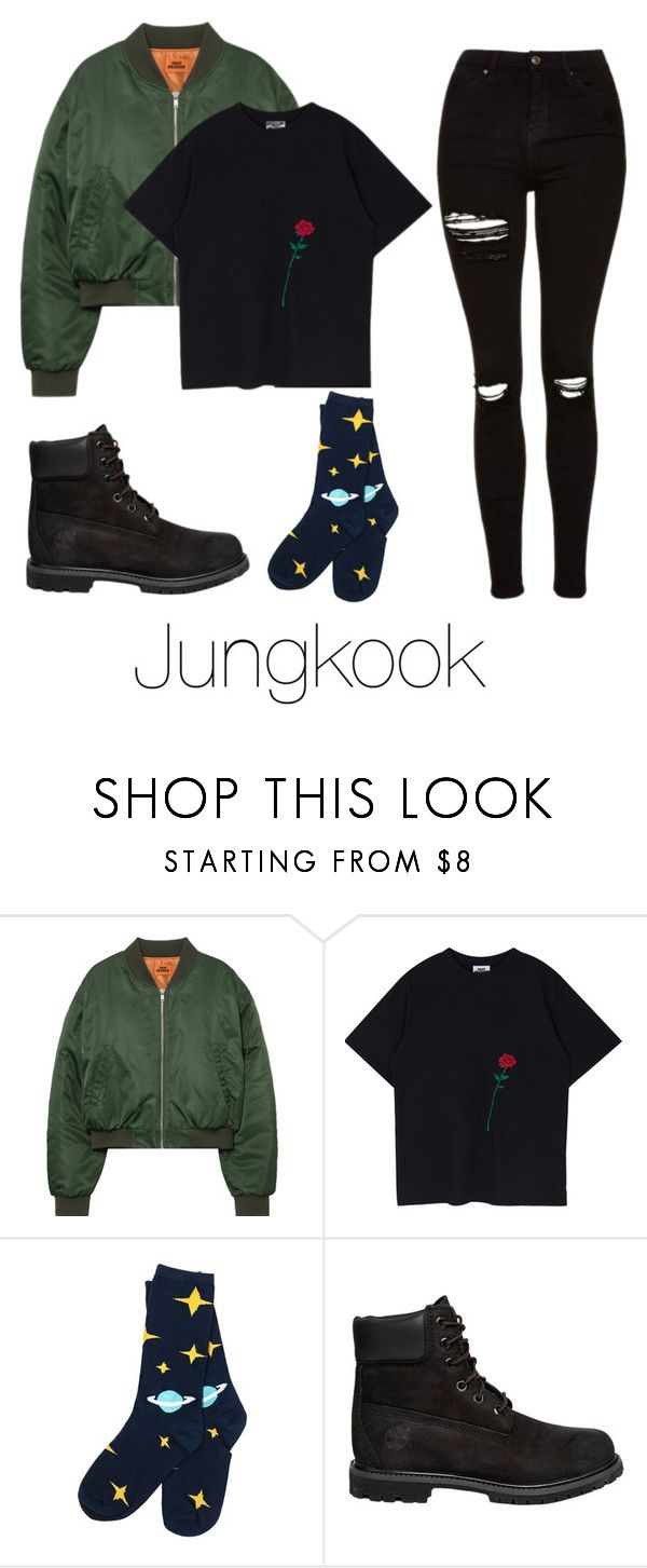 """""""Lazy day with Jungkook"""" by infires-jhope ❤ liked on Polyvore featuring Timberland and Topshop"""