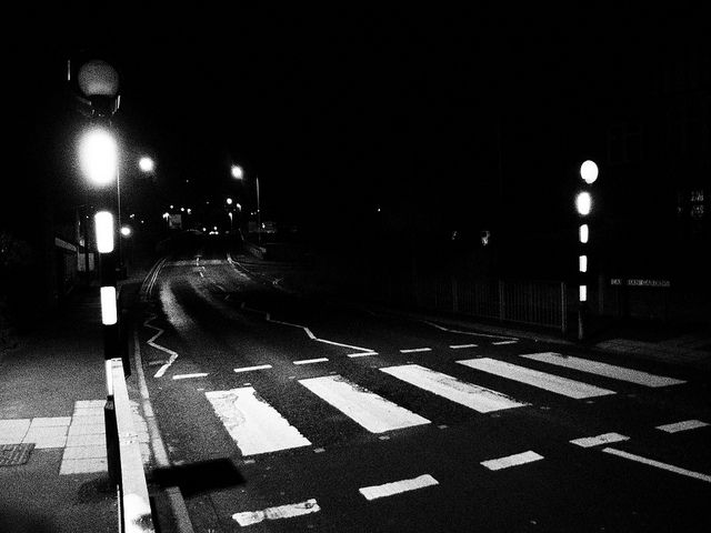 Old Style Zebra Crossing with Belisha Beacons at Night. Newtown, Wales. by Man of Yorkshire, via Flickr