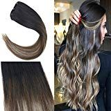 Full Shine 22″ 20 Pcs 50 Gram #2 Dark Brown Fading to #6 Chestnut Brown to #18 Ash Blonde Ombre Hair Extensions Straight Tape on Hair Extensions Glue …