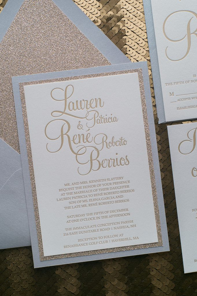 marriage invitation sms on mobile%0A Fabulous Silver and Gold Glitter Modern Wedding Invitations  BAILEY Fancy  Glitter Collection by Just Invite